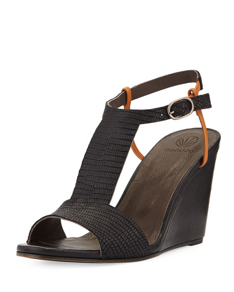 Coclico Jamie Lizard-Embossed Wedge Sandal, Black/Camel