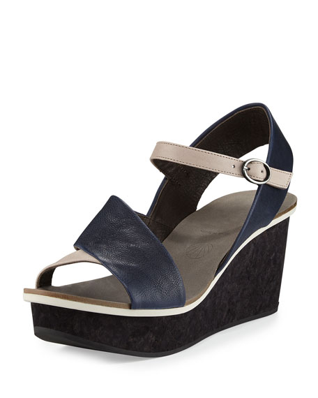 Coclico Mallow Asymmetric Wedge Sandal, Prussian/Faun