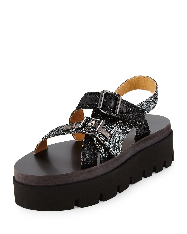 dd8df5dc7f9 MM6 Maison Martin Margiela Glitter Platform Sandals