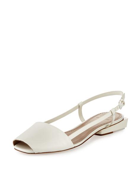 Tory Burch Pietra Leather Runway Flat Sandal, Porcelain