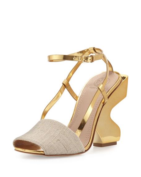 Tory Burch Curio Curve-Heel 110mm Sandal, Natural/Gold