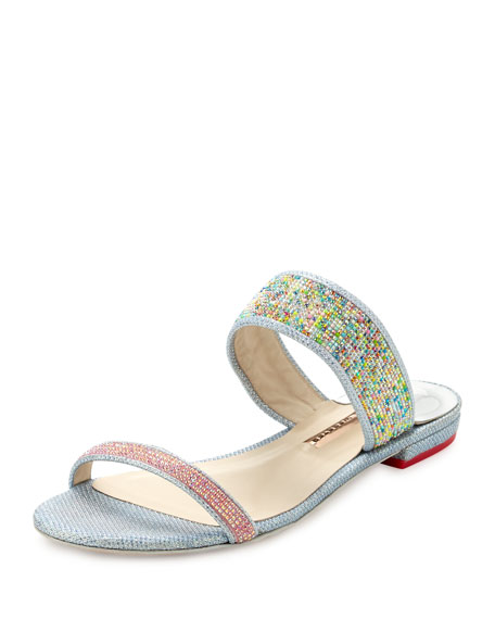 Sophia Webster Adaline Dreamy Crystal Flat Slide Sandal, Pink/Blue