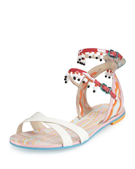 Nereida Beaded Ankle-Wrap Sandal, White