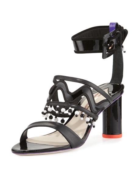 Sophia Webster Nereida Beaded Ankle-Wrap Sandal, Black/Multi