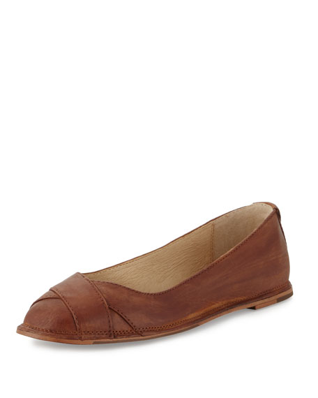 Frye Ember Cross Leather Ballet Flat, Cognac