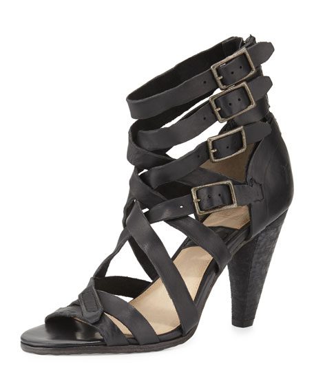 Frye Mika Strappy Leather Sandal, Black