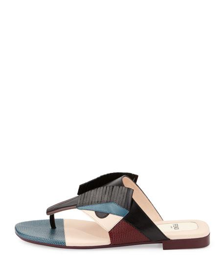 Bug Monster Leather Flat Thong Sandal, Black/Multi
