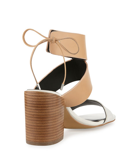 Christy Leather City Sandal, Nude/White