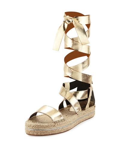 Gila Lace-Up Tall Espadrille Sandal, Light Gold