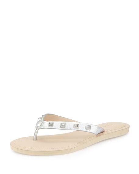 Rebecca Minkoff Fiona Studded Flat Thong Sandal, Black