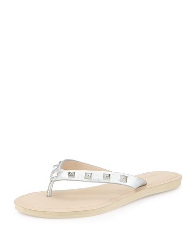 Fiona Studded Flat Thong Sandal, Fuchsia