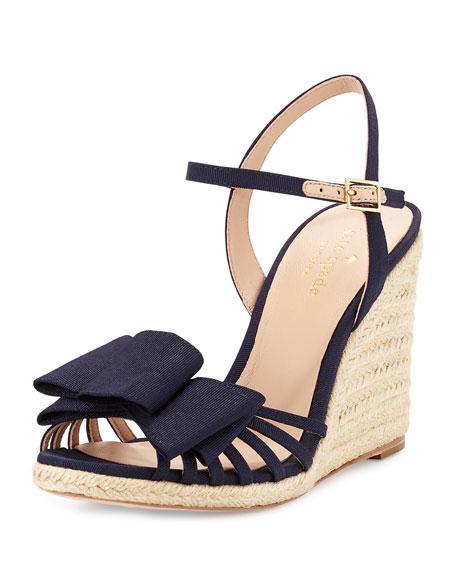 biana grosgrain bow wedge sandal, navy