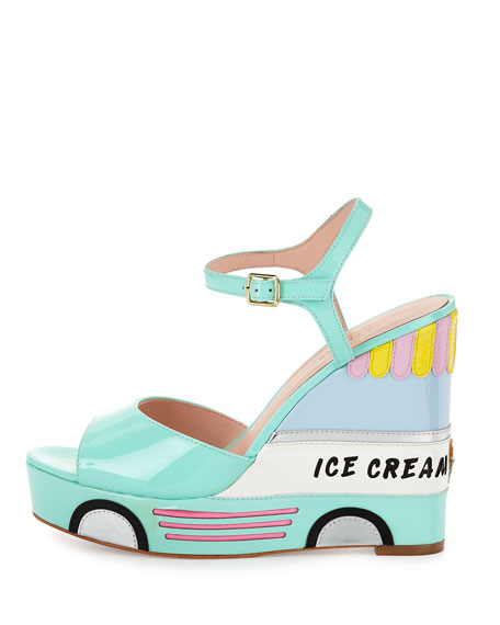 kate spade new york dotty ice cream wedge sandal, mint liqueur