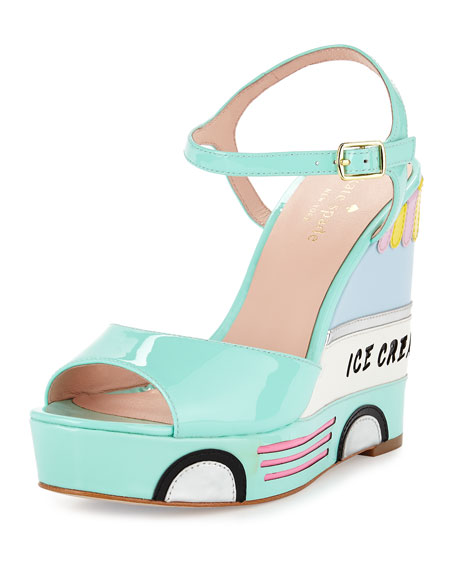dotty ice cream wedge sandal, mint liqueur
