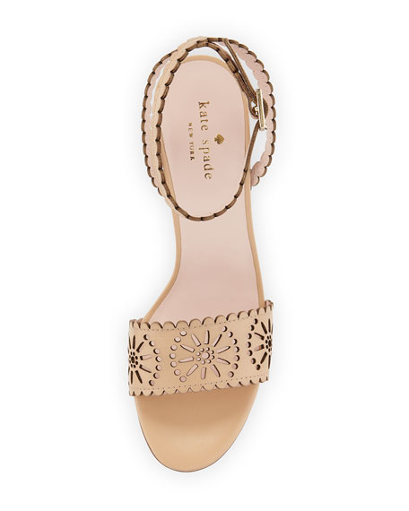 iago laser-cut wedge sandal, natural
