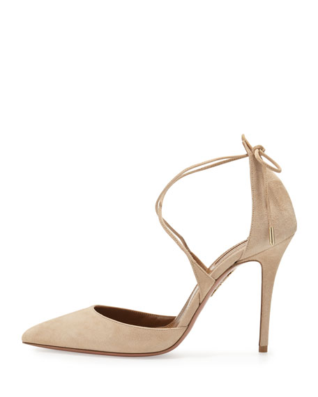 Image 2 of 4: Matilde Crisscross Suede 105mm Pumps, Nude