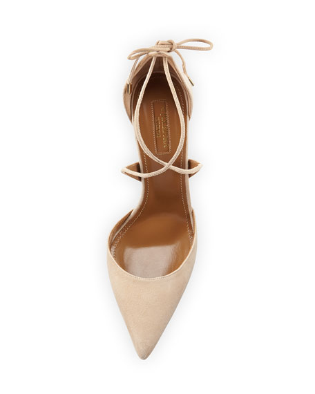 Image 3 of 4: Matilde Crisscross Suede 105mm Pumps, Nude