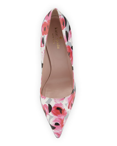 licorice floral pointed-toe pump, multi