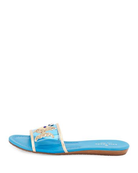 tara fish flat slide sandal, surf blue