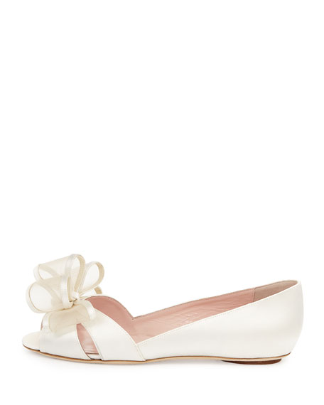 valarie satin open-toe bow ballerina flat, ivory