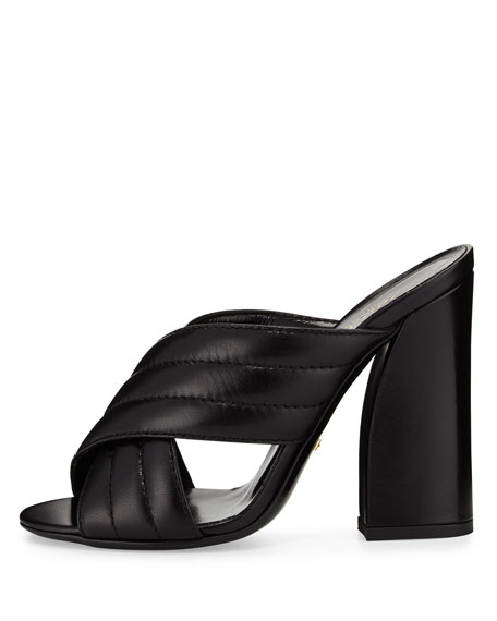 Webby Leather 110mm Slide Sandal, Black