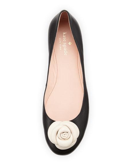 walta leather flower ballerina flat, black