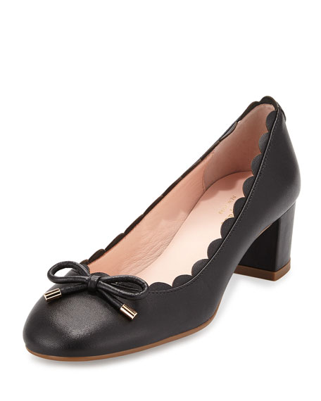 kate spade new york yasmin scalloped leather pump, black