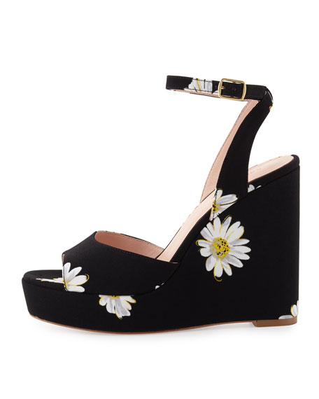 dellie daisy-print wedge sandal, black/multi
