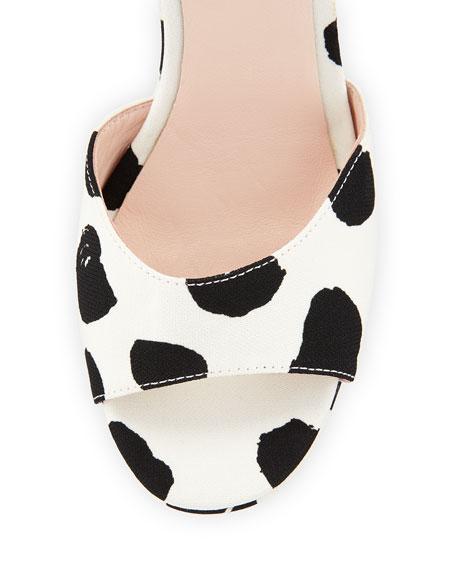dellie polka-dot wedge sandal, black/white