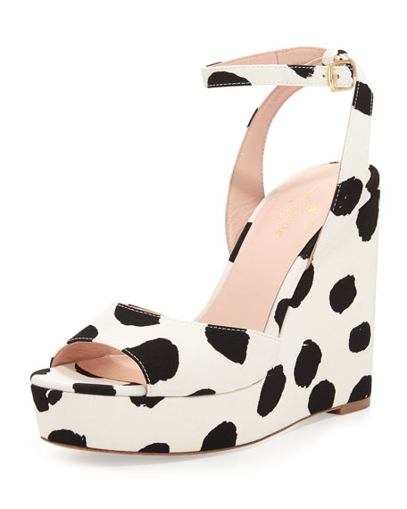 kate spade new york dellie polka-dot wedge sandal, black/white