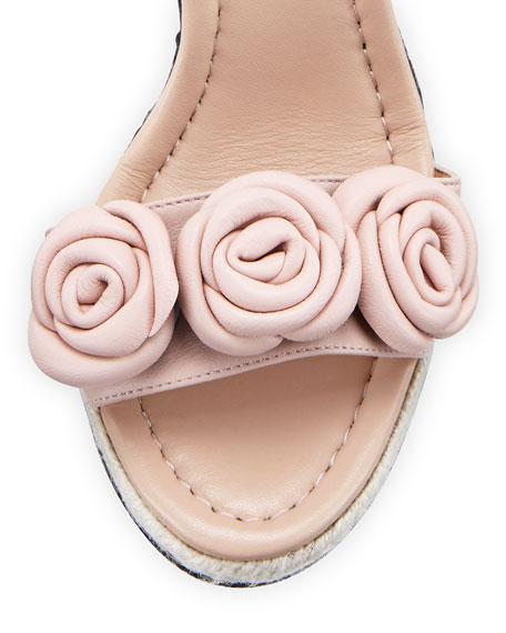 kate spade new york jill rosette leather wedge sandal, pale pink