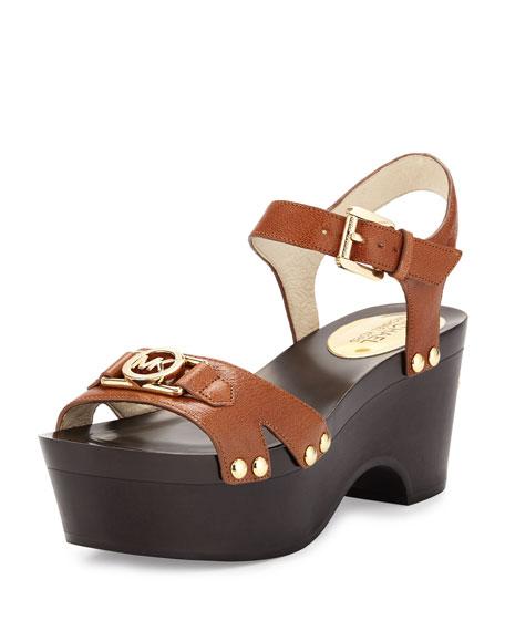 MICHAEL Michael Kors Charm Mid Patent Platform Sandal, Luggage