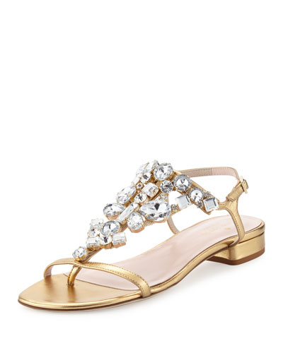 fedra jeweled leather sandal, old gold