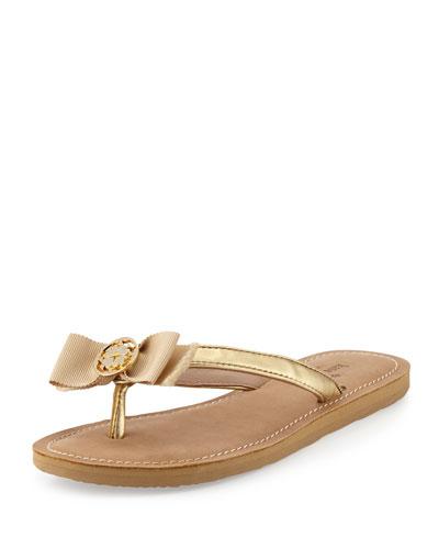 ida bow thong sandal, gold