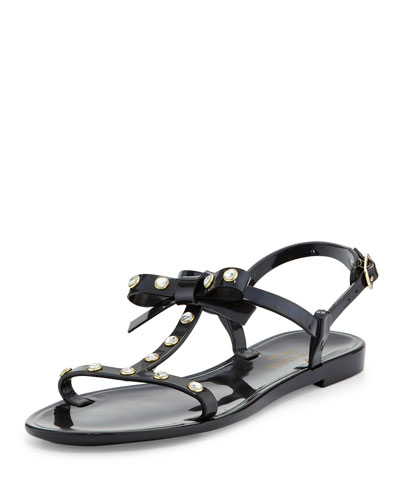 savannah jeweled t-strap flat jelly sandal, black