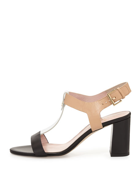 addie colorblock leather city sandal, black/white/natural
