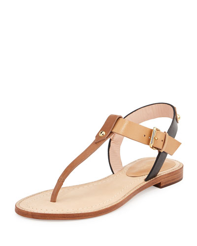 sky leather t-strap sandal, luggage/natural/black