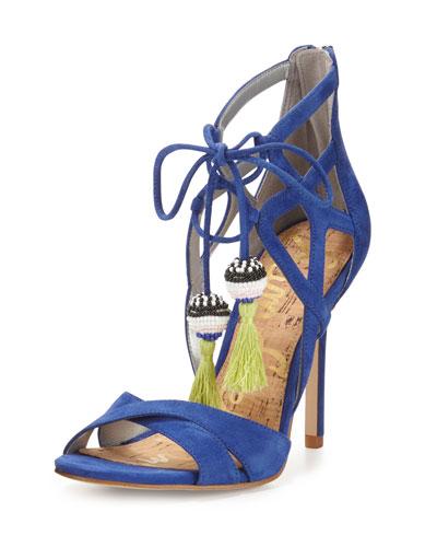Azela Strappy Tassel Sandal, Sailor Blue