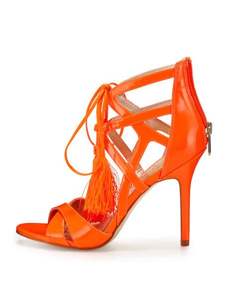 Azela Strappy Patent Tassel Sandal, Neon Orange