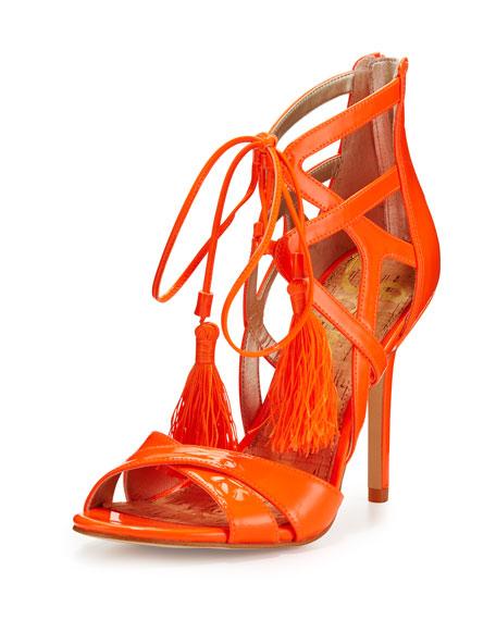 Sam EdelmanAzela Strappy Patent Tassel Sandal, Neon Orange