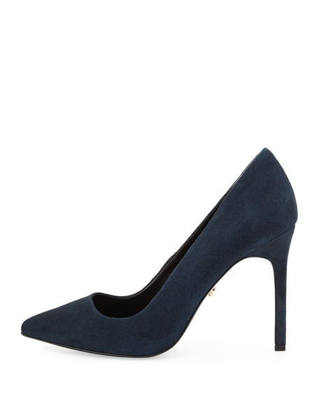 Caterina Suede Pointed-Toe Pump, Navy