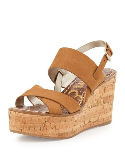 Destiny Leather Cork-Wedge Sandal, Camel