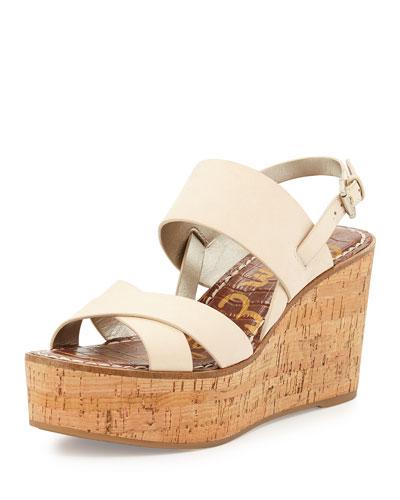 Destiny Leather Cork-Wedge Sandal, Summer Sand