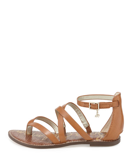 Gilroy Strappy Leather Flat Thong Sandal, Saddle