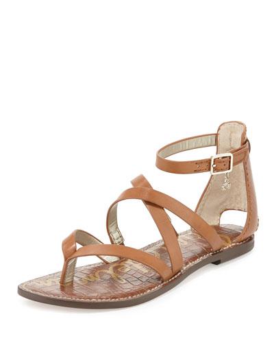 Gilroy Strappy Leather Flat Thong Sandal, Saddle