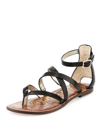 Gilroy Strappy Leather Sandal, Black