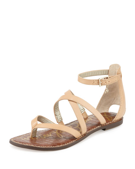 Sam Edelman Gilroy Strappy Leather Flat Thong Sandal, Natural Naked