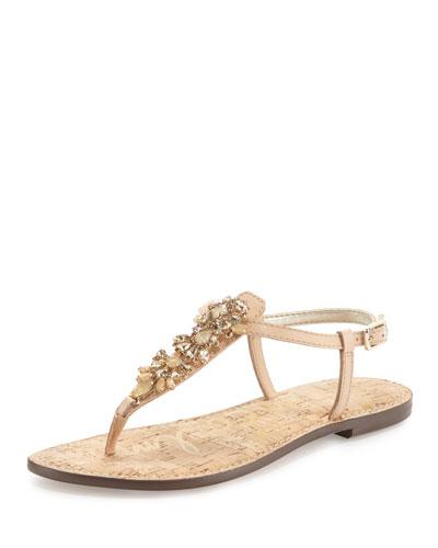 Gene Crystal Leather Flat Thong Sandal, Natural Naked