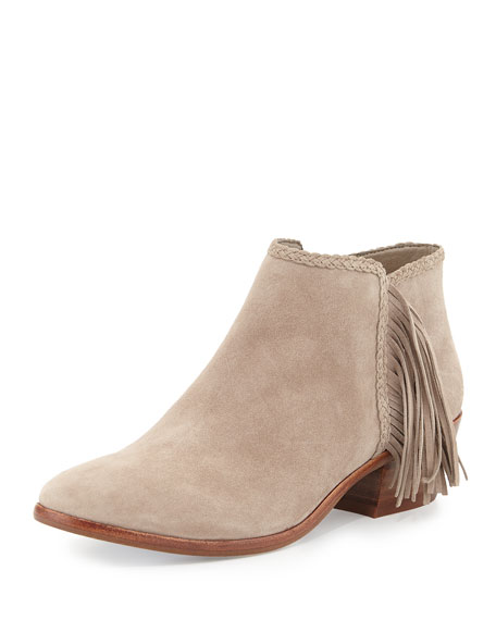Sam Edelman Paige Suede Fringe Booties, Putty