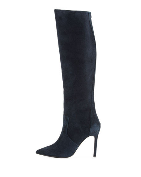 Constance Suede High-Heel Boot, Navy